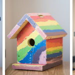 Photo of birdhouses designed by Brush Creek Elementary School students in Eagle, Colorado